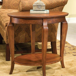 Fairfield Chair Company - Cherry Finish Oval Wood End Table w Curved Le - One shelf. Made from wood. 26 in. W x 18 in. D x 25 in. H