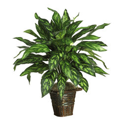 Nearly Natural - Silver King with Basket Silk Plant - Live a life of luxury with this beautiful silk Silver King. Rich colorful hues and ornately designed leaves create a royal appeal that can't be beat. At 31 inches tall, this lovely plant blends well in any home or office setting. Nestled in a shapely wicker basket bursting with moss, it makes a nice housewarming gift for family or friends. Best of all, there's no watering or pruning required.