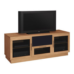"""Furnitech - Modern 60"""" TV Stand - Style and function come together in the Modern 60"""" TV Stand. Featuring solid wood legs, and sculpted stainless handles, this piece is truly exquisite. This contemporary TV stand offers ample storage for A/V accessories and will nicely complement traditional or contemporary furniture. Features: -Sculpted stainless steel bar handles.-Two stipple glass doors, framed in solid wood.-Adjustable shelves.-Media storage drawer.-Large open compartment for center channel speakers.-Internal wire management.-Ventilated back panel.-Color may vary due to natural variations in the wood.-Recommended TV Type: Flat screen or plasma.-Powder Coated Finish: No.-Gloss Finish: Yes.-Material: Veneer, MDF, Solid Wood.-Number of Items Included: 1.-Distressed: No.-Exterior Shelves: No.-Drawers: Yes -Number of Drawers: 1.-Drawer Glide Material: Steel drawer glides.-Drawer Glide Extension: Full extension glides.-Soft Close Drawer Glides: No.-Safety Stop: Yes.-Ball Bearing Glides: No.-Joinery Type: Heavy wood block cleats with thick metric screws.-Drawer Dividers: No..-Cabinets: Yes -Number of Doors: 2.-Door Attachment Detail: European Hinge.-Interchangeable Panels: No.-Magnetic Door Catches: No.-Cabinet Handle Design: Sculptured stainless steel and black bar handles.-Adjustable Interior Shelves: Yes..-Scratch Resistant: No.-Ventilation Features: Ventilation slots in back panel.-Removable Back Panel: Yes.-Hardware Finish: Stainless Steel.-Casters: No.-Accommodates Fireplace: No.-Fireplace Included: No.-Lighted: No.-Media Player Storage: Yes.-Media Storage: Yes -Media Storage Capacity: 68 DVDS/175 CDS..-Cable Management: Yes.-Remote Control Included: No.-Batteries Required: No.-Weight Capacity: 500.-Swatch Available: Yes.-Commercial Use: Yes.-Collection: Modern.-Eco-Friendly: Yes.-Recycled Content: No.-Lift Mechanism: No.-Expandable: Yes.-TV Swivel Base: No.-Integrated Flat Screen Mount: No.-Hardware Material: Stainless steel hinges, steel screws for joinery.-Non-"""