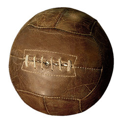 Kathy Kuo Home - Silver dome Vintage Leather European Football Tabletop Decor - Celebrate your love for sports history with sophistication, with this vintage-inspired leather European football. With this gorgeous, rustic piece on display in your home, you'll feel inspired to strive to even greater heights.