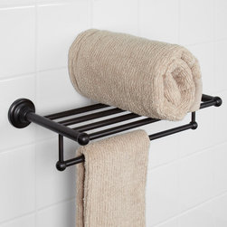Holliston Double Towel Rack - Featuring a rack and a rail for storing and hanging towels and bathroom accessories, the Holliston Double Towel Rack has a classic design that complements any bathroom style. Select from two sizes, multiple finishes and look to the Holliston Collection for matching bath accessories.