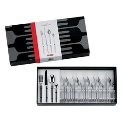 """Alessi - Alessi """"Dry"""" 24 Piece Cutlery Set - Make every meal with your family special with this modern flatware set by designer Achille Castiglioni. Made from polished steel with satin handles, this dishwasher-safe, 24-piece set consists of six table forks, six table spoons, six table knives and six coffee spoons."""