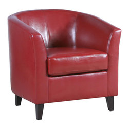 Great Deal Furniture - Petaluma Modern Tub Design Red Leather Club Chair - Add bold color to your living room with Petaluma stylish accent chair in Red.  This leather club chair is a classic style which adds design to any room while being extremely comfortable.  Buy one or a pair adding additional seating to a living room.