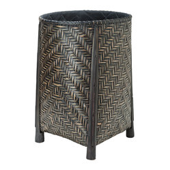 Round Open Bamboo Hamper with Cotton Liner, Black & Brown Stain