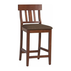 "Linon - Linon Torino Slat Back Counter Stool 24"" in Dark Cherry - Linon - Bar Stools - 01848DKCHY01KDU - The elegance and unique style of this Torino Collection Contemporary Counter Stool will carry throughout your kitchen dining or home pub area. The cushion is piled high for extra comfort and the brown microfiber seat makes this stool versatile for any gathering area. Finished in a rich Dark Cherry. The clean lines and solid construction ensure that this stool is durable enough for a busy kitchen yet elegant enough for a more formal setting. 24"" seat height"