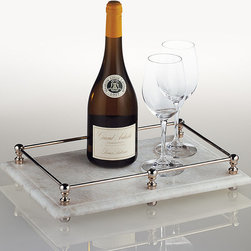 Frontgate - Marble Butler's Tray - Handcrafted of antiqued marble. Accented with nickel-plated brass. Wipe clean with a damp cloth. The versatile Marble Butler's Tray is an elegant tabletop display that is perfect for serving drinks, hors d'oeuvres, and much more. The cool, handcrafted marble is the perfect platform for cheese and sushi. .  . .