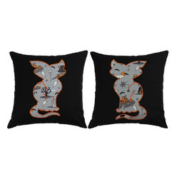RoomCraft - Orange Embroidered Cat Pillow Covers 16x16 Halloween Shams - FEATURES: