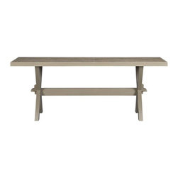 Cucina Dining Table - Give your dining room, eat-in kitchen or covered porch some farmhouse style with this wood trestle dining table.