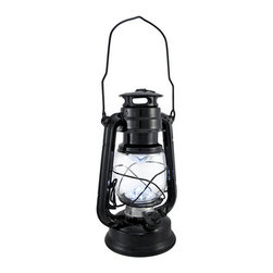 Battery Operated 12 LED Black Camping Lantern 9.5 In. - This camping lantern features a convenient combination of a classic design and modern technology. Twelve ultra white LED lights shine brighter than the light from traditional kerosene lanterns. The lantern is made of metal with a glass globe and measures 9 1/2 inches tall, 6 1/4 inches wide, 4 1/2 inches deep. It runs on 2 `D` batteries (not included), and is great for camping and fishing, or is a great accent light on your porch or patio. This lantern is a wonderful alternative to fuel lanterns, there is no smoke, no fire, no cleaning, and no worries about kids using it.