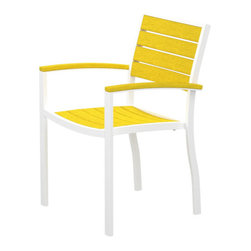 PolyWood - Euro Armchair by Polywood, White/Lemon - Contemporary design meets casual comfort in the Polywood® Euro Dining Arm Chair. This modern chair, with its spacious seat and comfortable arms, will add a touch of sophistication to your outdoor entertaining space. Whether you're creating a sitting area or need coordinating seating for your Euro dining table, this attractive, low-maintenance chair is ideal. It's made in the USA with a sturdy aluminum frame and eco-friendly, fade-resistant Polywood recycled lumber slats. While it has the appearance of painted wood, it requires none of the maintenance real wood does. Backed by a 20-year warranty, this chair won't splinter, crack, chip, peel or rot. It's also resistant to nature's elements, stains, corrosive substances, insects, fungi, salt spray and other environmental stresses. In addition, this chair is easy to clean and it never has to be painted, stained or waterproofed.