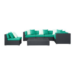 East End Imports - Lambid 7 Piece Sectional Set in Espresso Turquoise - Plumb the depths to stimulate the creative faculties. Decipher the enigmatic and perfect awareness will emerge. Lambid's spaciousness will unravel riddles and enhance the senses while you correctly demonstrate the ability to imagine.