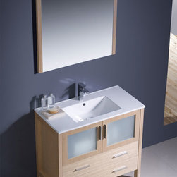 "Fresca - Fresca Torino 36"" Modern Single Sink Vanity Set w/ Integrated Sink - Fresca is pleased to usher in a new age of customization with the introduction of its Torino line. The frosted glass panels of the doors balance out the sleek and modern lines of Torino, making it fit perfectly in either 'Town' or 'Country' decor. Available in the rich finishes of Espresso, Glossy White, Light Oak and Walnut Brown, all of the vanities in the Torino line come with either a ceramic vessel bowl or the option of a sleek modern ceramic integrated sink."