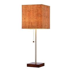 Adesso - Adesso Sedona Table Lamp, Walnut - 4084-15 - Square Natural cork shade has a PVC lining
