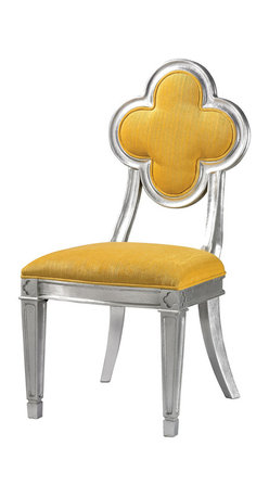 Sterling Industries - Petal Back Dining Chair in Yellow - Made from Plantation grown hardwoods this petal backed accent The chair is finished in Silver leaf and the bright chenile fabric adds a pop of color to any setting. Sturdy enough to be used in commercial settings.