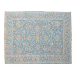 Oriental Rug, 9'X12' Washed Out Hand Knotted Sky Blue Peshawar Rug SH11335 - Hand Knotted Oushak & Peshawar Rugs are highly demanded by interior designers.  They are known for their soft & subtle appearance.  They are composed of 100% hand spun wool as well as natural & vegetable dyes. The whole color concept of these rugs is earth tones.