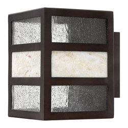 Hinkley Lighting - Hinkley Lighting 1450SB-GU24 Sierra 1 Light Outdoor Wall Lights in Spanish Bronz - Sierra's transitional style has an organic elegance with a natural stone centerpiece and panels of clear seedy glass. The solid aluminum construction in a Spanish Bronze finish completes its chic style.