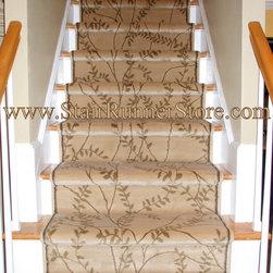 Contemporary, Straight Stair Runner Installation - Contemporary stair runner installed on a straight staircase. Installation by John Hunyadi, The Stair Runner Store, Oxford, CT  www.StairRunnerStore.com