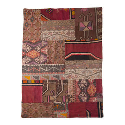"Patchwork Kilim Rug - Old fabrics made of stitched-together vintage kilim, jijim and cicim remnants have been collected and re-defined into a contemporary and new work called ""kirkyama"" or patchwork. These rugs are beautifully designed and finished with very heavy cotton backing so they lie flat. There is an undeniable beauty behind a vintage find that cannot be replicated. A good vintage rug will not only anchor a room with its colors and textures, but will be versatile enough to transition into any space. These one of a kind pieces are wonderful textiles representative of your own personal aesthetic."
