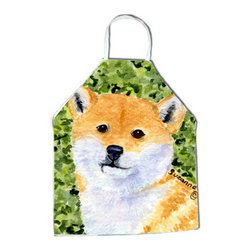 Caroline's Treasures - Shiba Inu Apron SS8719APRON - Apron, Bib Style, 27 in H x 31 in W; 100 percent  Ultra Spun Poly, White, braided nylon tie straps, sewn cloth neckband. These bib style aprons are not just for cooking - they are also great for cleaning, gardening, art projects, and other activities, too!