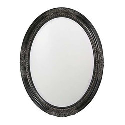 Howard Elliott Queen Ann Antique Black Mirror - This round, wooden mirror features a traditional, vintage design at each pole and is finished with antique black leaf.