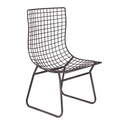 Wren Wire Chair - Black - A variation of the classic mid-century modern wire chairs, the Wren uses cross woven wire to add texture and elegance to your dining room or office setting. May be used indoors or out but should be covered in the event of moisture to protect its finish. Available in black or white.