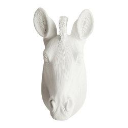 White Faux Taxidermy - White Faux Taxidermy - Mini Zebra Head - Fake Animal Mounts - Measurements:
