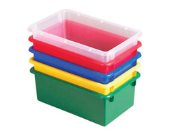 Ecr4kids - Ecr4Kids Playroom Plastic Stack And Store Tub Without Lid 15 Piece - Assorted - Fits most standard cubbie units that are 14 deep or more. Heavy-duty plastic wont break when used all day long. Rounded edges for safety.