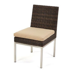 Caluco - Mirabella Dining Table Chair - The Mirabella Dining Table Chaircombines style, durability, and comfort to provide unmatched value in outdoor seating.  Pictured in the dark java wicker with stainless steel finish.