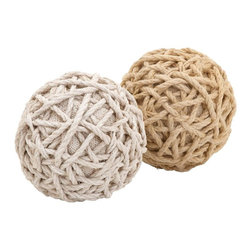 """Benzara - Assorted Dual Jute Balls with a Classy Look - Add charm and elegance to your decor with this jute ball 2 assorted. Displaying a simple construction, these jute balls acts as trinkets to spruce up and enhance your decor. Put these jute balls in a plate or a bowl and place them on the mantle or table to embellish your furnishing. Using Jute balls as decorative accessories is a novel concept and adds sassiness to your setting. Your distinctive taste in art and contemporary choices in fashion are mirrored through these unique jute balls. You can stow these durable jute balls in your living room or in the office to add a stylish demeanor to the space. Made out of plant material, these Jute balls are apt to deck your interiors with magnificence. These are eco-friendly decor items and will serve you for a long time without damaging environment. They are good gifting option too..; Made out of plant material; Durable; Long shelf life; Good gifting option; Weight: 0.66 lbs; Dimensions:6""""W x 6""""D x 6""""H"""