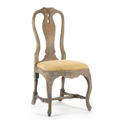 Kate Chair - Distressed but still breathtaking in their traditional homage to the beauty of furniture ornamentation, the carvings on the Kate Chair's cresting rail, apron, and gorgeous legs make this birch side chair an artwork, worthy of display as a single accent chair or as a collection around the dining table. A slight curve to the seat mirrors an hourglass-shaped back with an elegant pierced splat.
