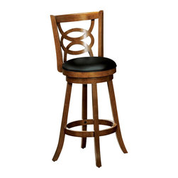 """Monarch Specialties - Monarch Specialties 29 Inch Swivel Barstool (Set of 2) - Style or comfort? Why pick when this dark oak finish wood barstool blends both so seamlessly? With its plush black swivel seat, interlocking circle design and perfectly positioned circular footrest; this 29"""" high barstool will add a touch of elegance to any game room or dining area. What's included: Barstool (2)."""