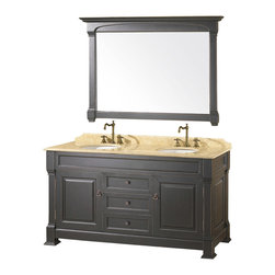 "Wyndham - Andover 60"" Traditional Double Bathroom Vanity Set - Antique Black - A new edition to the Wyndham Collection, the beautiful Andover bathroom vanity series represents an updated take on traditional styling. The Andover is a keystone piece, with strong, classic lines and an attention to detail.; The vanity and solid marble countertop are hand carved and stained. Available in Black and Dark Cherry finishes to match any decor. Available in a range of single or double vanity sizes to fit any bathroom.; Antique Black Finish; Includes Solid Marble Counter - Ivory; Includes White Porcelain Basin; Includes Backsplash; Includes Matching Mirrors; Fits 60 inch space; Faucet not included; Constructed of environmentally friendly, zero emissions solid oak wood, engineered to prevent warping and last a lifetime; Dimensions: Vanity 60 x 23 x 35; Mirror 55 x 41"