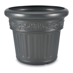 """PLC - Iron Planter - Large decorative planter made of high density polyethylene resin. Won't chip or crack in cold weather. Dimensions: 18"""" tall x 21"""" diam."""