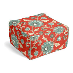 Red & Aqua Stylized Floral Custom Pouf - The Square Pouf is the hottest thing in decor since the sectional sofa. This bean bag meets Moroccan style ottoman does triple duty as a comfy extra seat, fashion-forward footstool, or part-time occasional table.  We love it in this funky stylized floral with bold bursts of teal & small hints of metallic gold & gray swirling across a cherry red cotton background.
