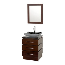Wyndham Collection - Floor Standing Bathroom Vanity Set - Includes one bathroom vanity, smoke glass counter, one black granite sink and matching mirror. Faucets not included. Three drawers. Top drawer has cut out for plumbing. Smoke glass top. 8 stage painting and coloring process. Contemporary and unique design. Deep doweled drawers. Side mount drawer slides. Single hole faucet mount. Lots of storage space for a small vanity. Metal hardware. Made from wood and MDF. Gray, black, espresso and brushed chrome color. Care Instruction. Vanity: 22.25 in. W x 20 in. D x 36 in. H. Mirror: 22 in. W x 28 in. H