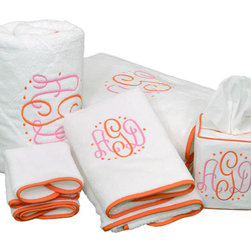 Ruthie Bath Towels/Accessories - Adding a personalized tissue box holder or beautiful monogrammed towels to your dressing room, bathroom or closet will elevate the style and make it feel extra special.