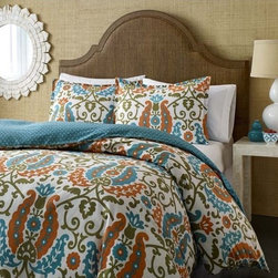 City Scene - City Scene Constantine Cotton 3-piece Duvet Cover Set - Bring a modern touch to your bedroom with the City Scene Constantine duvet cover set. Made from 100-percent cotton,this stunning set features a medallion pattern that reverses to an aqua foulard print.