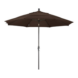 None - Fiberglass Mocha Olefin Crank/Tilt Umbrella (11-foot) - Update your patio decor and add a touch of shade with this umbrella. Resistant to mildew, mold and fading, this umbrella features a durable olefin construction and boasts a convenient crank open mechanism and premium collar tilt.