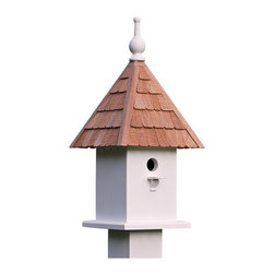 Other Brands - Lazy Hill Farms Loretta Bird House Multicolor - 41450 - Shop for Houses from Hayneedle.com! A delight in the garden the Lazy Hill Farms Loretta Bird House is loaded with classic charm. This detailed bird house is crafted of solid cellular vinyl in white which has the look and feel of genuine wood without the maintenance. It features an adorable redwood shingle roof that comes off for easy cleaning and this bird house comes complete with a metal plate for post mounting.About Lazy Hill Farm Designs Lazy Hill Farm Designs is a leader in garden and birding accessories. They are known for turning exquisite designs into exceptional quality garden accessories. All Lazy Hill Farm products are made of solid cellular vinyl that looks and feels like genuine wood yet requires no maintenance. All the roofs are removable for easy cleaning and each one is handcrafted in America. These are among the finest garden accessories on the market.
