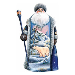 """Artistic Wood Carved Polar Explorer Santa Claus Sculpture - Measures 9""""H x 3.75""""L x 3.25""""W and weighs 2 lbs. G. DeBrekht fine art traditional, vintage style sculpted figures are delightful and imaginative. Each figurine is artistically hand painted with detailed scenes including classic Christmas art, winter wonderlands and the true meaning of Christmas, nativity art. In the spirit of giving G. DeBrekht holiday decor makes beautiful collectible Christmas and holiday gifts to share with loved ones. Every G. DeBrekht holiday decoration is an original work of art sure to be cherished as a family tradition and treasured by future generations. Some items may have slight variations of the decoration on the decor due to the hand painted nature of the product. Decorating your home for Christmas is a special time for families. With G. DeBrekht holiday home decor and decorations you can choose your style and create a true holiday gallery of art for your family to enjoy. All Masterpiece and Signature Masterpiece woodcarvings are individually hand numbered. The old world classic art details on the freehand painted sculptures include animals, nature, winter scenes, Santa Claus, nativity and more inspired by an old Russian art technique using painting mediums of watercolor, acrylic and oil combinations in the G. Debrekht unique painting style. Linden wood, which is light in color is used to carve these masterpieces. The wood varies slightly in color."""