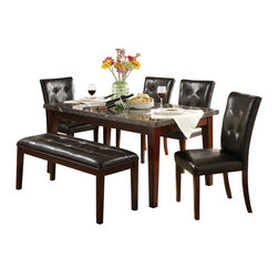 Homelegance - Homelegance Decatur 6-Piece Rectangular Dining Room Set with Marble Top - The casual Decatur collection is the transitional style that you have been searching for in your dining space. wood legs - in a rich cherry finish - support both the marble tabletop and chair seats. Tufted accenting on the chair back and bench lend, not only, to the design but your comfort, as well, as you sit with family and friends over a casual meal.