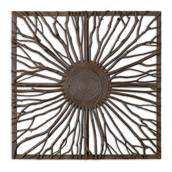 Uttermost - Josiah Square Wooden Wall Art - This Decorative Wall Art Features Real Wooden Branches With Burnished Edges And Light Gray Accents Woven Onto A Wooden Frame.