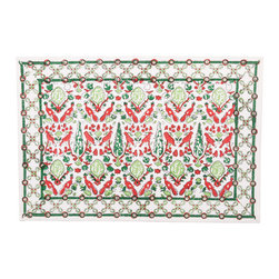 Pomegranate Inc. - Aviary Red Placemats (Set of 4) - 100% cotton canvas. Machine wash cold, tumble dry low, warm iron as needed. Made in India.