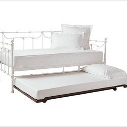 "Savannah Metal Daybed With Trundle, Antiqued Pewter finish - Embellished with open scrollwork and cast finials, our Savannah Daybed imparts welcome spaciousness and displays bedding beautifully. 80"" wide x 42"" deep x 43"" high Constructed of iron tubing and bars to create a lighter version of the traditional iron daybed. Platform foundation is designed for use without a box spring Optional trundle rolls out on casters to create an additional sleep space for guests. View and compare with other collections at {{link path='pages/popups/bedroom_DOC.html' class='popup' width='720' height='800'}}Bedroom Furniture Facts{{/link}}. View our {{link path='pages/popups/fb-bedroom.html' class='popup' width='480' height='300'}}Furniture Brochure{{/link}}. Catalog / Internet Only."