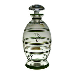 Lavish Shoestring - Consigned Wine Decanter in Blown Glass w/ Painted Decoration & Mushroom Stopper - This is a vintage one-of-a-kind item.