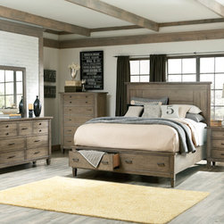 Legacy Classic Furniture - Panel Bedroom Set with Storage - Do you love furniture that has a refurbished, weathered look? Well then Legacy Classic Furniture has a collection just for you! The Panel Bedroom Set with Storage is a gorgeous set, coated in a cloudy linen finish achieving a naturally distressed appearance. Consisting of a King or Queen size bed, two 3 drawer nightstands, a 6 drawer chest, and a 9 drawer dresser with mirror, this unique bedroom set will light up your decor with its charming character.
