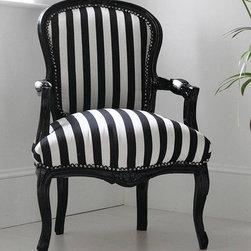 Hattie Black and White Striped Chair - This traditional French chair upholstered in a bold stripe is perfection.