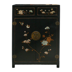 Golden Lotus - Chinese Black Veneer Leather Side Table Shoes Cabinet - This is a storage cabinet with black veneer leather oriental flower graphic covered. The shelves can be removed. It is a nice storage cabinet with narrow size.