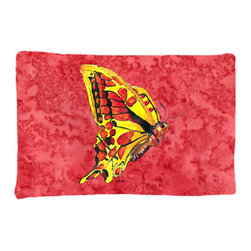 Caroline's Treasures - Butterfly on Red Fabric Standard Pillowcase Moisture Wicking Material - Standard White on back with artwork on the front of the pillowcase, 20.5 in w x 30 in. Nice jersy knit Moisture wicking material that wicks the moisture away from the head like a sports fabric (similar to Nike or Under Armour), breathable performance fabric makes for a nice sleeping experience and shows quality. Wash cold and dry medium. Fabric even gets softer as you wash it. No ironing required.