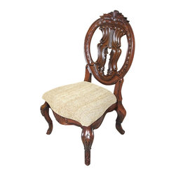 MBW Furniture - Solid Mahogany Round Back Carved Tan Occasional Side Chair - This is a beautiful solid mahogany tan dining side chair. It has a solid mahogany wood frame that features a gorgeous carved and pierced back that is richly adorned with fancy fretwork and foliage and scroll accents, and it has distinguished cabriole legs with acanthus leaves and scrolls. The seat is very comfortable and it has beautiful textured tan fabric. This chair is a showroom model and may have some minor imperfections but as shown it is overall in very good condition. It is shipped assembled.